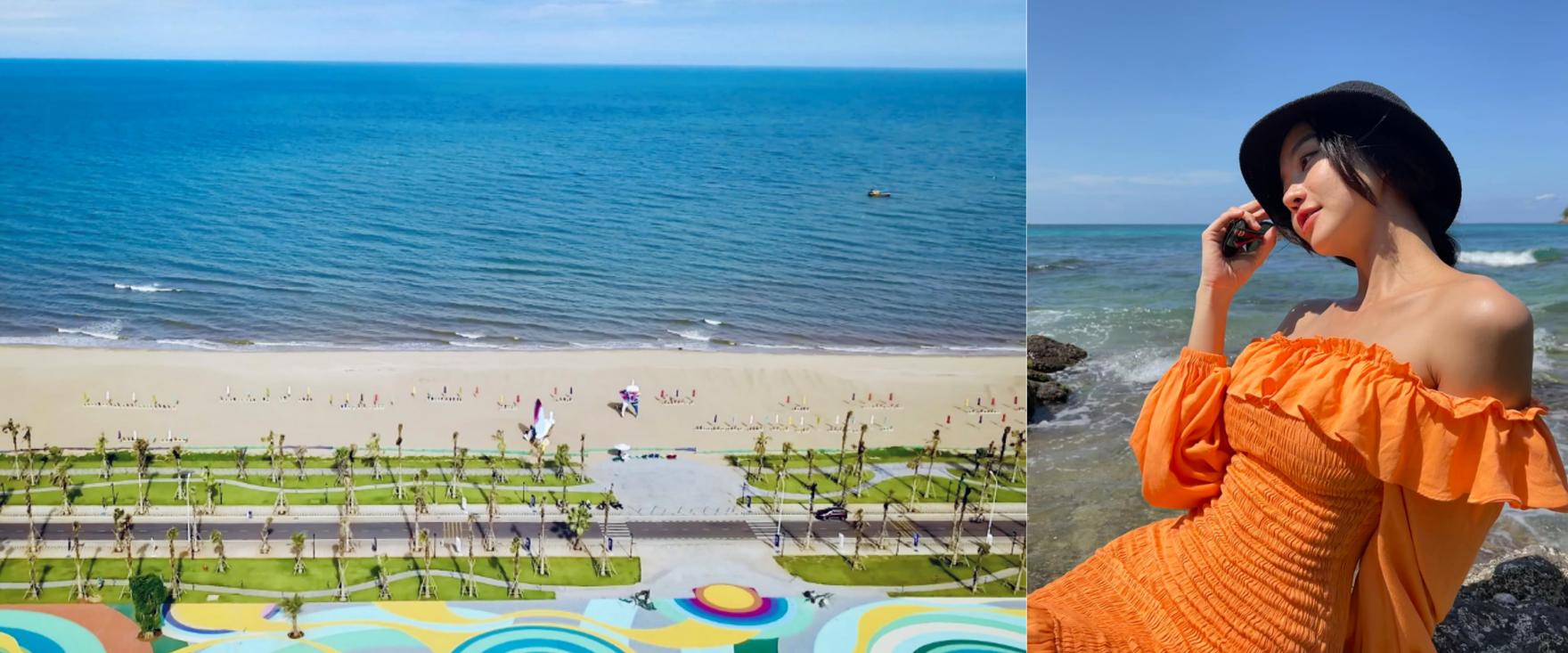 Công viên biển Bikini Beach 16 ha tại NovaWorld Phan Thiet là một trong những tiện ích Kiều Ngân mong sớm trải nghiệm. Cô mơ được hít thở bầu không khí trong lành tại vùng biển nắng ấm, cùng tận hưởng những giây phút tuyệt vời sau hơn 2 tháng chưa gặp bạn bè. Ảnh thực tế dự án và Facebook Kiều Ngân.
