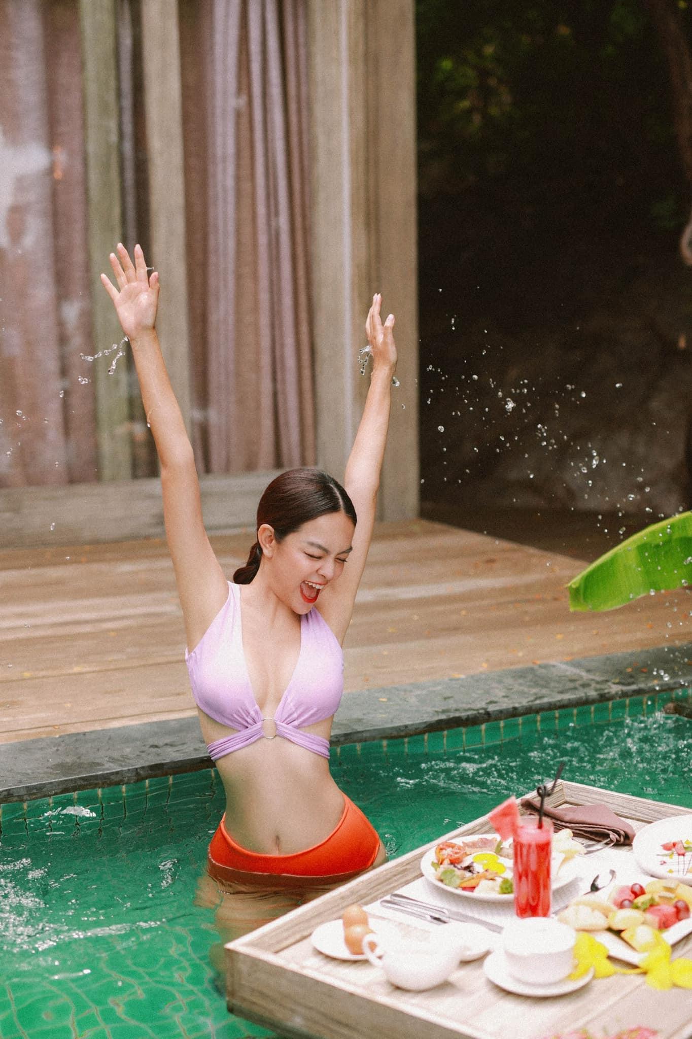 Sau khi detox thành công, Phạm Quỳnh Anh tự tin lên kế hoạch chụp bộ ảnh tại Bikini Beach NovaWorld Phan Thiet. Ảnh:  Facebook Phạm Quỳnh Anh.