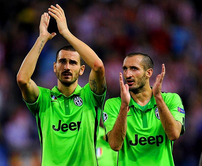 Cầu thủ Juventus trong trang phục sân khách màu xanh lá cây. Ảnh: Goal.