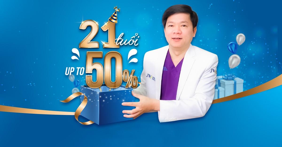 Bệnh viện JW ưu đãi 50% toàn bộ dịch vụ làm đẹp nhân dịp sinh nhật 21 tuổi thương hiệu JW toàn cầu. Đăng ký nhận quà tại đây.