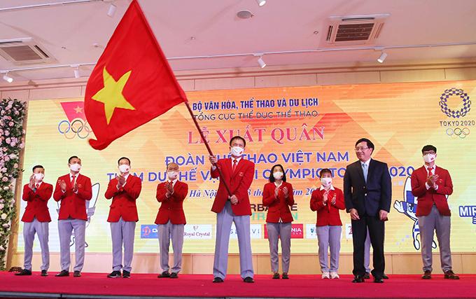 Đoàn thể thao Việt Nam trong lễ xuất quân dự Olympic 2020. Ảnh: Quý Lượng.