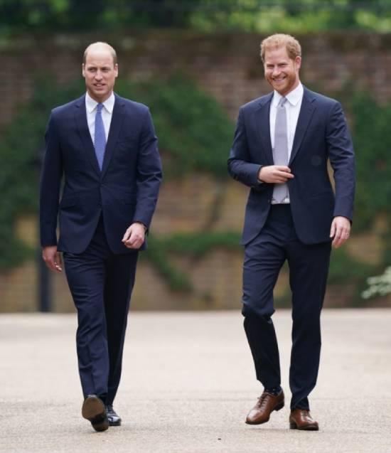 Harry và William trong lễ dựng tượng mẹ Diana ở Điện Kensington hôm 1/7. Ảnh: PA.