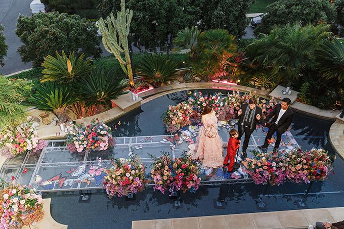 Người phụ trách chính cho tiệc của chị Mimi là Jeannie Young - chuyên thực hiện các tiệc cưới xa xỉ cho giới nhà giàu Mỹ và bên cung cấp hoa cho tiệc là Eucharis Studio. Trong vòng 3-4 tháng, vợ chồng chị và ekip đã lên ý tưởng cho tiệc Colorful Butterfly và thi công tại biệt thự trong 1 tuần lễ liên tục.