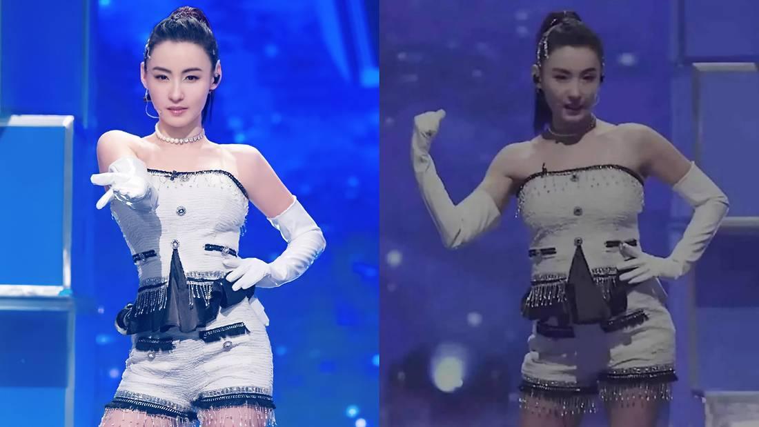 Trương Bá Chi lộ ngoại hình mập hơn so với ảnh quảng bá cho chương trình (ảnh phải).