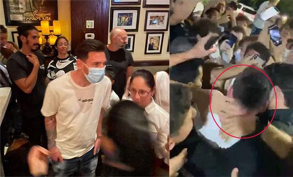 Messi trong nhà hàng và khi ra ngoài với hàng trăm fan đang chờ sẵn. Ảnh: The Sun.