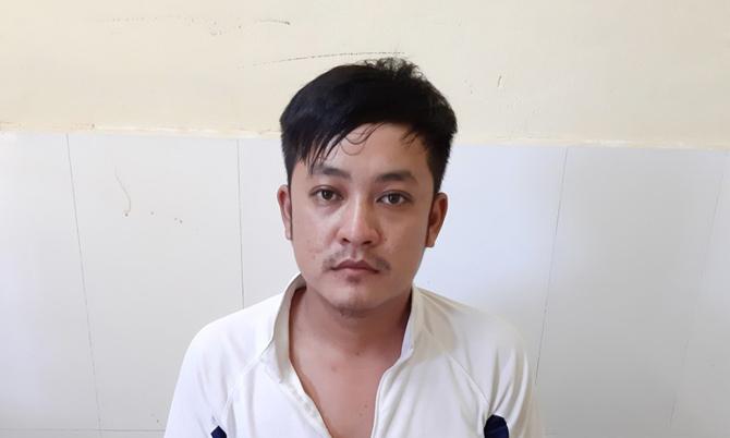 Phạm Văn Công tại cơ quan công an. Ảnh: Đại Hiệp.