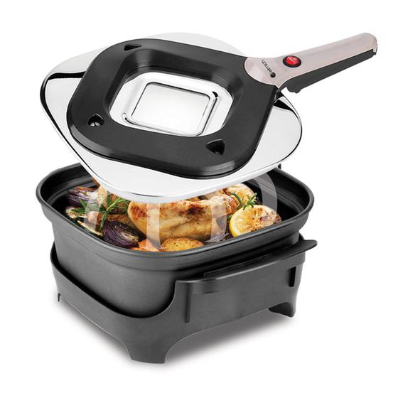 Nồi hầm đa năng Elmich King Cook BPE-3375, 4,3L 1.694.000đ (- 49 %)Đa chức năng: có thể nấu, nướng, hầm, quay... và làm nóng thức ăn 2.Thức ăn được làm chín theo cơ chế tỏa nhiệt từ nắp, giúp thức ăn chín đều, đảm bảo dinh dưỡng và tiết kiệm 80% năng lượng so với nồi nấu thông thường 3.Chất chống dính Teflon bền và an toàn cho sức khỏe 4.Tay cầm cách nhiệt giúp vận hành an toàn 5.Đế nồi chắc chắn, cố định trong quá trình nấu 6.Nồi thiết kế hình vuông độc đáo, hiện đại và thanh lịch cho mọi gian bếp 7.Vành nắp nồi bằng thép không gỉ với lỗ thông hơi 8. Trên nắp nồi có cửa sổ kính giúp giám sát thức ăn trong quá trình nấu 9. Lắp ráp dễ dàng, nhanh chóng và an toàn 10. Dễ dàng tháo rời để vệ sinh 11.Sản phẩm được sản xuất theo công nghệ và tiêu chuẩn Châu ÂuBảo hành 25 tháng