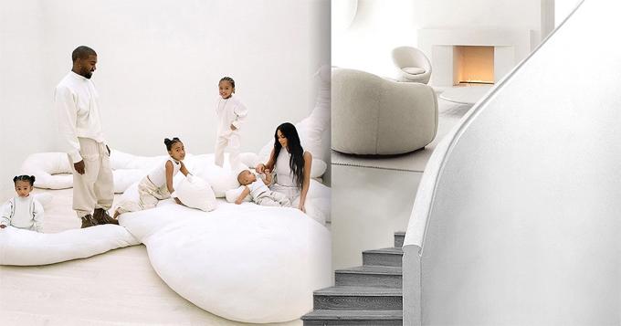 Kanye West và Kim Kardashian bên bốn con trong tổ ấm cũ.