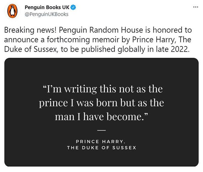Nhà sách Penguin tuyên bố sách của Harry sẽ được xuất bản toàn cầu vào cuối năm 2022.