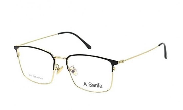 Gọng kính Sarifa 9827làm từ chất liệu plastic và hợp kim titanium, trọng lượng nhẹ ôm sát gương mặt. Đệm mũi rời. Phần kim loại ở gọng có các màu bạc, vàng, xám hoặc trắng. Sản phẩm đang được ưu đãi 48% còn 269.000 đồng.