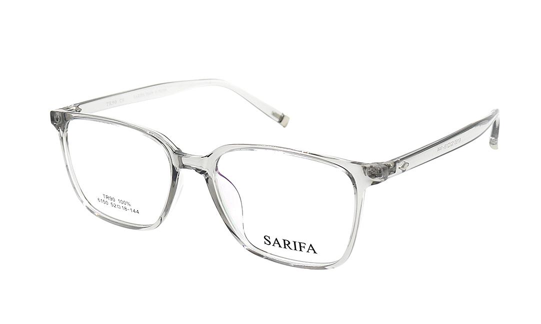 Gọng kính Sarifa 6150 C9có khung viền mắt kính bằng nhựa, mắt kính rộng 52 mm. Càng kính làm từ hợp kim titanium bọc nhựa. Đệm mũi liền. Sản phẩm đang được ưu đãi 40% còn 269.000 đồng.