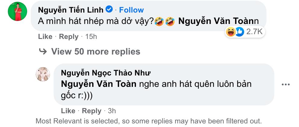 Bình luận đáp trả của Tiến Linh nhận được bão haha của cộng đồng mạng - Ảnh chụp Facebook Văn Toàn