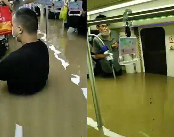 Hành khách mắc kẹt trong tàu điện ngầm ngập nước ở Trịnh Châu, Hà Nam, Trung Quốc hôm 20/7. Ảnh cắt từ video.