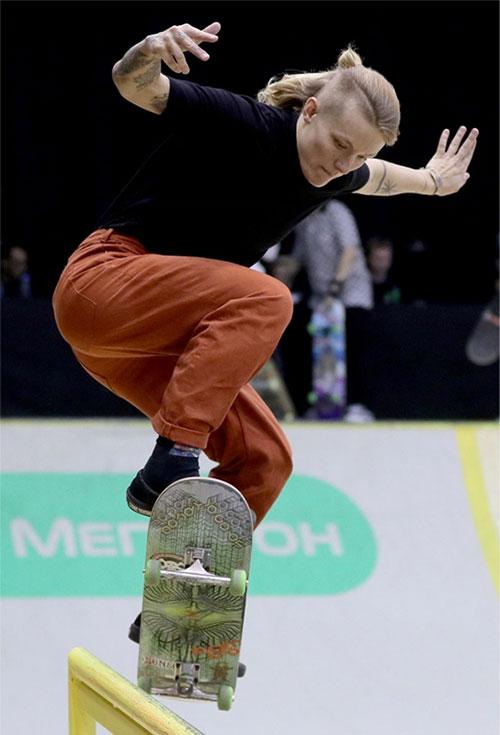 VĐV trượt ván Candy Jacobs. Ảnh: AFP.