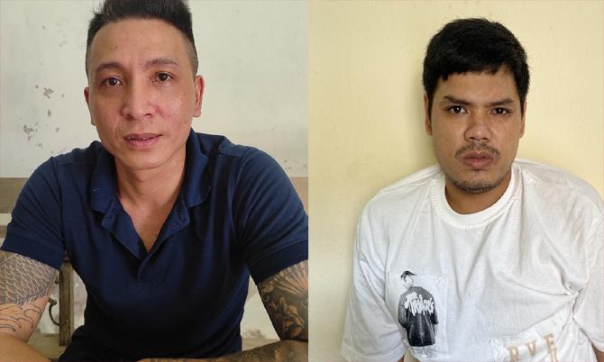 Phạm Thanh Minh và Nguyễn Hữu Vĩnh Toàn tại cơ quan công an. Ảnh: Sơn Thủy.