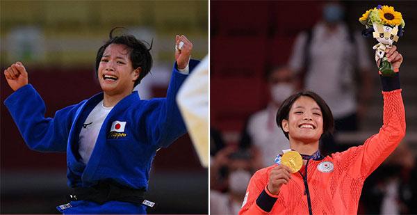 Uta Abe bật khóc vì xúc động trên sàn đấu sau chung kết rồi tươi như hoa khi nhận HC vàng trên bục. Ảnh: JT.