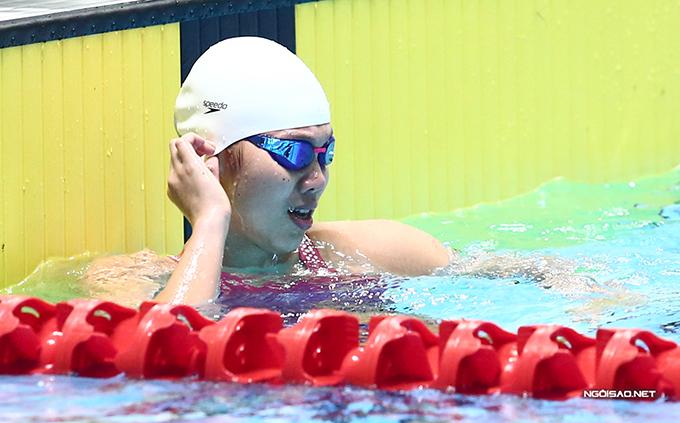 Kết quả thi vòng loại 200m tự do Olympic Tokyo của Ánh Viên kém thành tích mà cô lập được tại SEA Games 30 và kém xa kỷ lục cá nhân của cô. Ảnh: Đương Phạm.