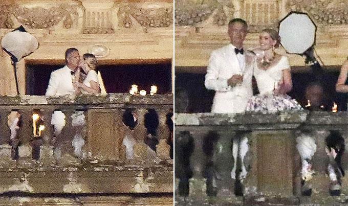 Tiểu thư Kitty Spencer hôn chồng hơn 5 tuổi trong đám cưới tại Italy hôm 23/7. Ảnh: Backgrid.