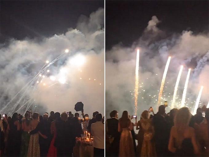 Màn bắn pháo hoa trong đám cưới của Kitty với Lewis. Ảnh: Instagram.