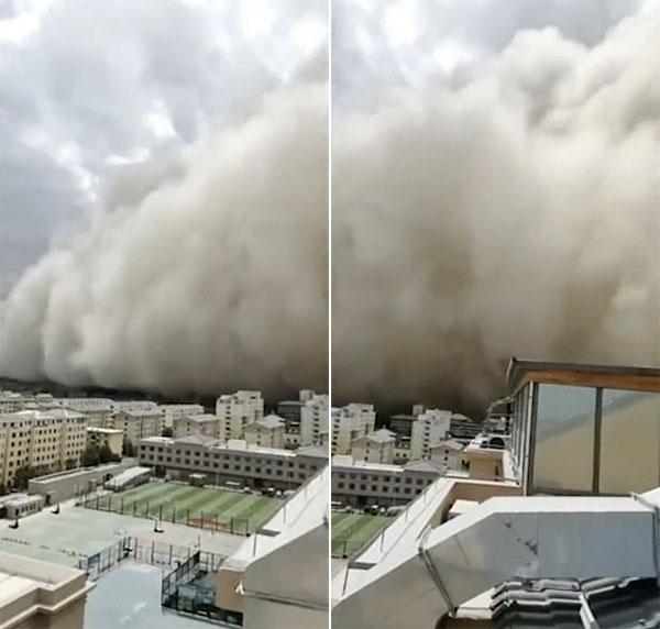 Bão cát khổng lồ quét qua Đôn Hoàng, Cam Túc chiều 25/7. Ảnh: Twitter.