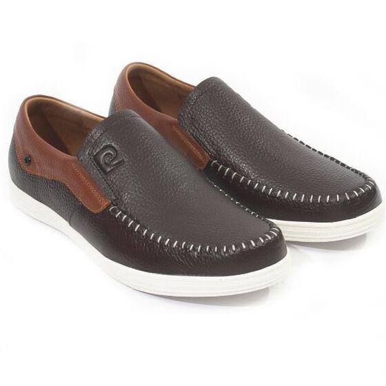 Giày Pierre Cardin PCMFWLD098BRW; dùng công nghệ may ép cement; chất liệu bên ngoài và trong là da bò; đế cao su.
