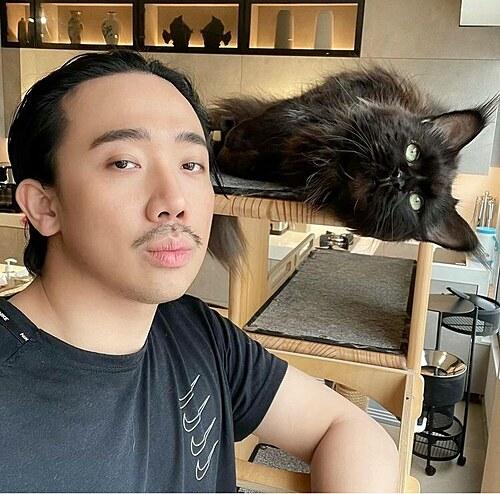 Trấn Thành chụp ảnh cùng mèo cưng khi ở nhà tránh dịch.
