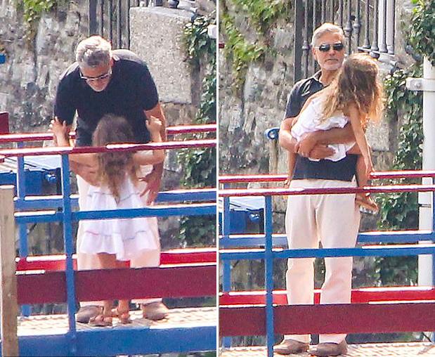 Tài tử George Clooney rất chăm chút các bé. Hơn một năm qua anh chỉ ở nhà với vợ con, dành thời gian chăm sóc tổ ấm. Ngôi sao 11 tên cướp thế kỷ từng tiết lộ anh không ngại bất cứ việc gì từ thay bỉm, cho con ăn, nấu nướng, giặt đồ hay lau dọn nhà cửa.