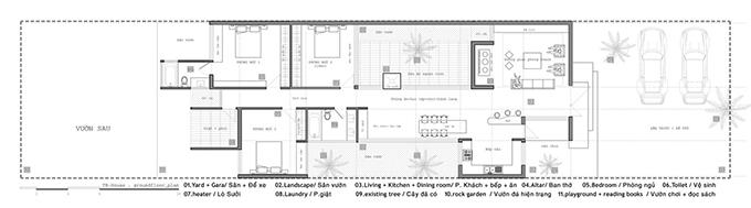 Sơ đồ 2D của ngôi nhà. Ngôi nhà được thiết kế chỉ có một tầng, với độ cao khác nhau, thấp ở bên ngoài và cao dần về sau với sơ đồ mặt bằng ngẫu hứng theo hiện trạng để tránh những hàng cây hiện hữu, giúp cho ngôi nhà hiện ra dưới những tán cây như thể nó đã ở đó từ rất lâu. Không gian trong nhà được phân chia đơn giản, phía trước có sân lát đá để xe, bước lên bậc tam cấp là sảnh vào và phòng khách, khu bếp ăn ở một phía riêng biệt, tiếp theo là khu ăn uống và vui chơi.