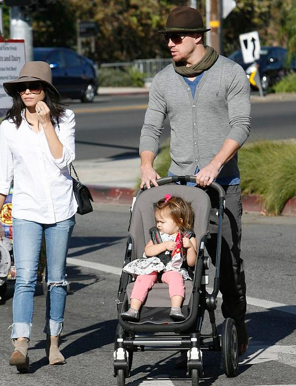 Jenna bên Channing Tatum và con gái năm 2014.