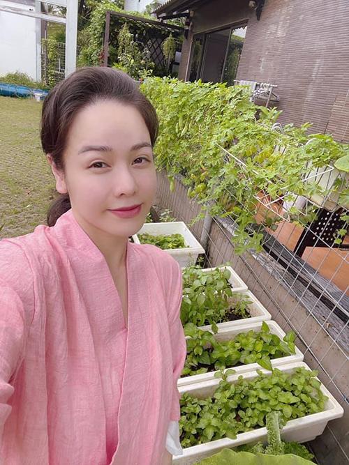 Nhật Kim Anh pose ảnh bên vườn rau sạch nhà trồng và khuyên mọi người đừng lãng phí những nặng lòng không đáng.