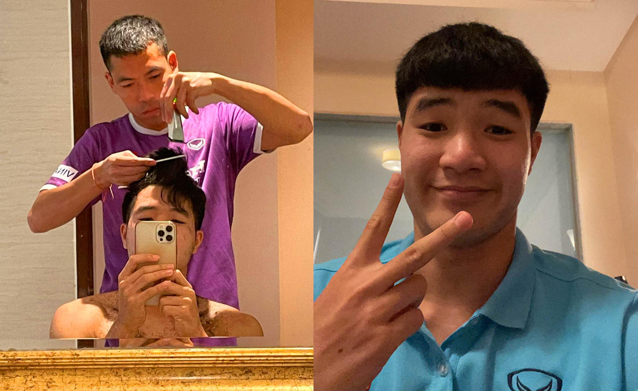 Đức Chinh hài lòng với mái tóc do Trương Văn Thiết cắt.