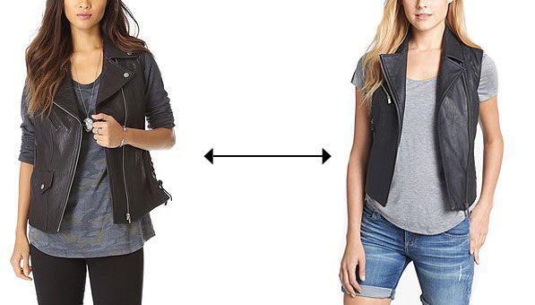 Trong hai mẫu áo gile cá tính này, một chiếc là thiết kế da thật của VEDA, được bán ở mức 792 USD, trong khi sản phẩm còn lại là da giả do Two by Vince Camuto sản xuất, có giá 149 USD. Theo bạn, đâu là hàng xịn?>> Xem đáp án