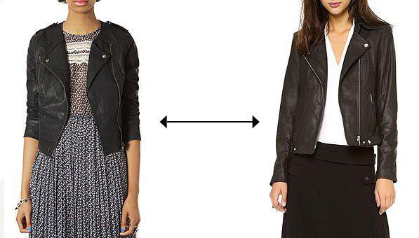 Bạn phải đầu tư 1.695 USD để sở hữu chiếc áo khoác da thật của Theyskens, còn sản phẩm Topshop chỉ tiêu tốn 104 USD. Đâu là hàng xịn?>> Xem đáp án