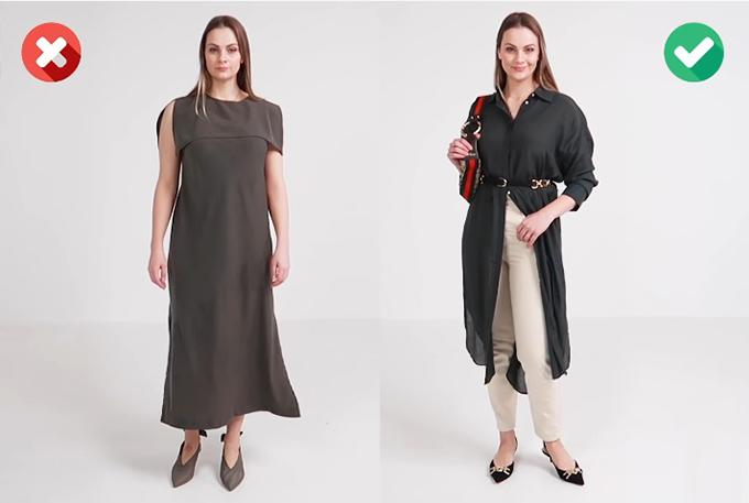Bổ sung nét sinh độngSo với một bộ đầm suông dài nhàm chán thì cách mix - match đa dạng, nhấn nhá phụ kiện hài hòa giúp phái đẹp trở nên nổi bật hơn hẳn.
