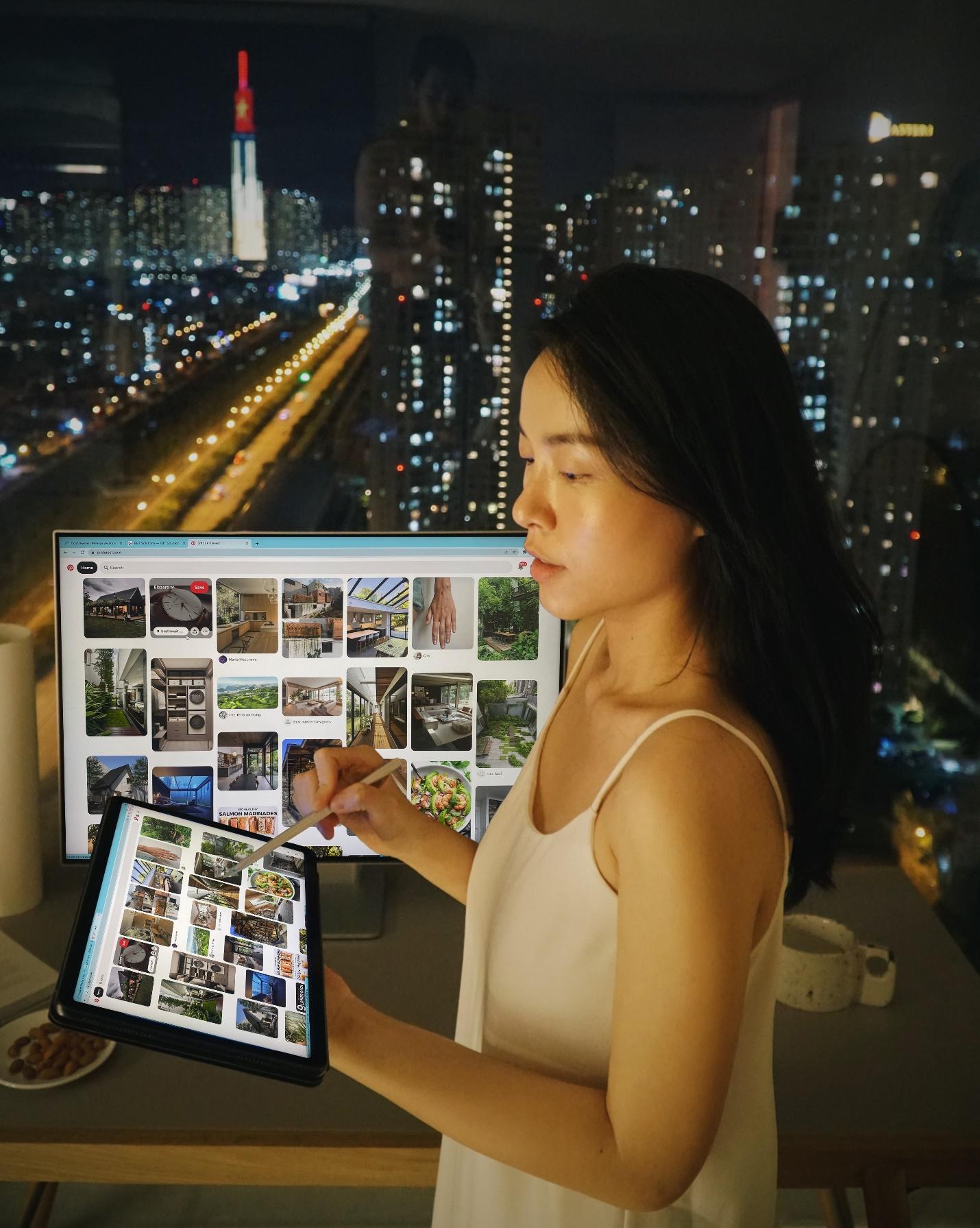 Blogger Hà Trúc bị chinh phục bởi bộ đôi máy tính bảng MatePad 11 và màn hình cao cấp Mateview của Huawei.