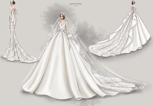 Bản phác thảo các kiểu mặc của váy cưới với tà rời và lúp, váy khi không có lúp và khi đã cởi bỏ tà rời. Tôi đã gửi cho bên Zuhair Murad nguồn cảm hứng của mình, và anh ấy đã vẽ ra chiếc váy vượt thời gian, đẹp nhất mà tôi từng thấy, cô dâu nói.