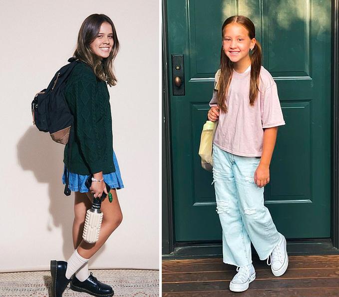 Jessica Alba cũng chia sẻ hình ảnh con gái cả Honor lên lớp 8 và con gái thứ Haven vào lớp 5. Hai công chúa nhà Jessica đều rất chững chạc và lựa chọn trang phục năng động khi đến trường.