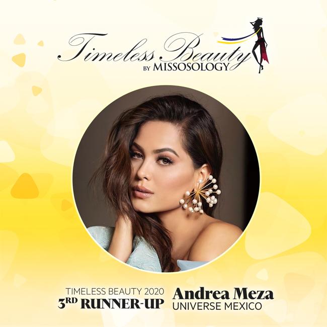 Đương kim Miss Universe - mỹ nhân Mexico Andrea Meza - đứng thứ tư trong cuộc bình chọn của Missosology.