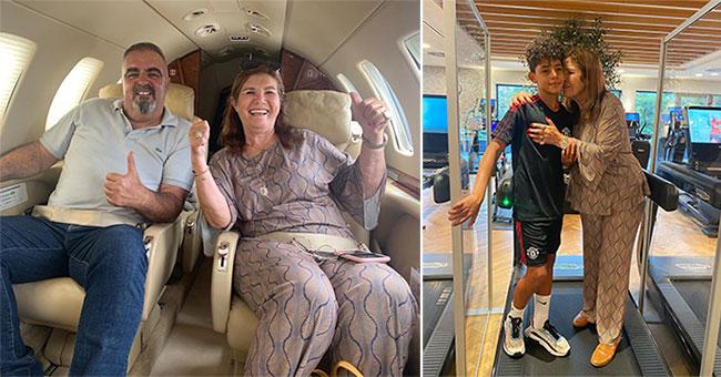 Mẹ C. Ronaldo đi máy bay riêng cùng bạn trai tới Manchester hội ngộ gia đình con trai và vui mừng gặp lại cháu nội. Ảnh: Instagram