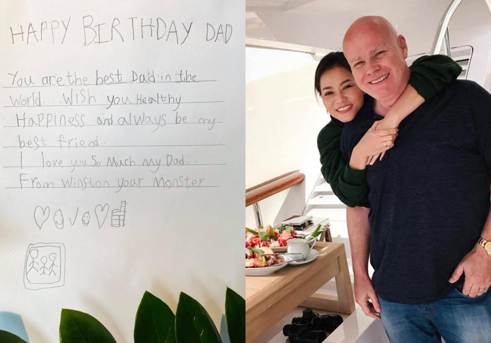 Thu Minh đăng ảnh tình tứ bên chồng trong ngày đặc biệt. Còn con trai của họ - bé Gấu - viết thiệp tặng bố: Con chúc bố nhiều sức khỏe và luôn là người bạn tốt nhất của con. Con yêu bố nhiều.