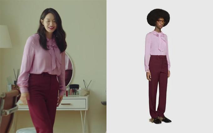 Ngoài bộ túi Hermes đắt đỏ, các mẫu áo blouse hay sơ mi của Shin Min Ah cũng đều thuộc các thương hiệu cao cấp. Đơn cử như nguyên set đồ gồm áo hồng - quần đỏ của Gucci nữ diễn viên sử dụng ở đầu tập 3.