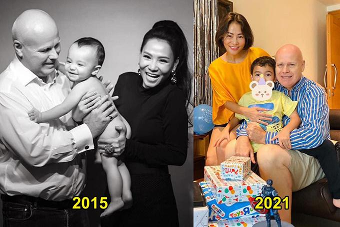 Thu Minh đu trend ngày ấy - bây giờ bên chồng và con trai.