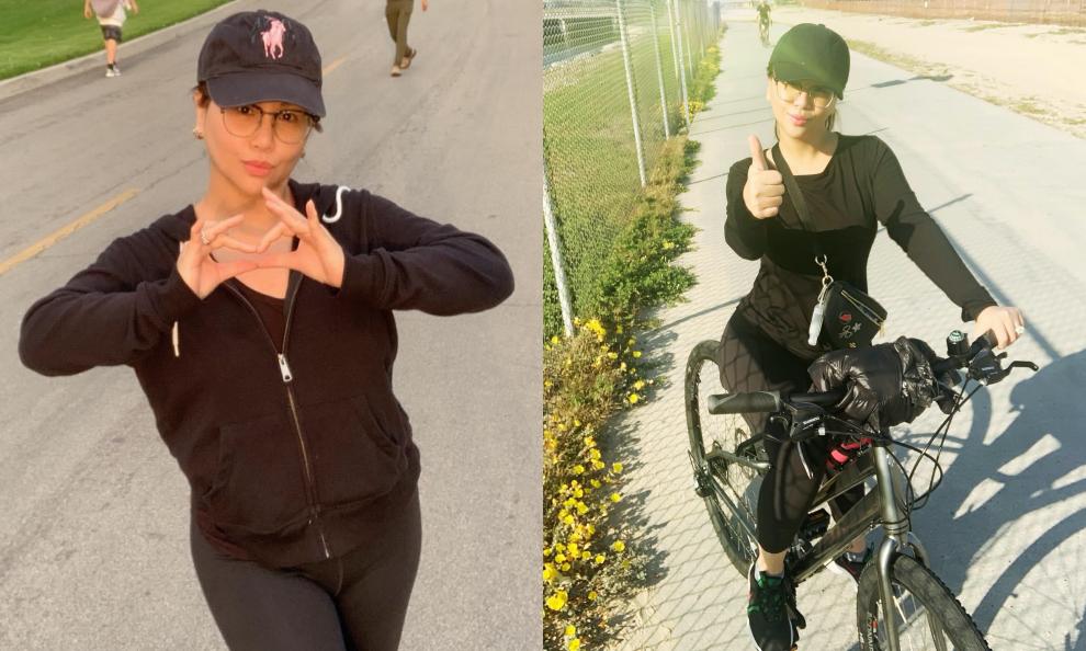 Em gái út của Cẩm Ly chăm chỉ chạy bộ, đạp xe giúp giữ gìn vóc dáng.