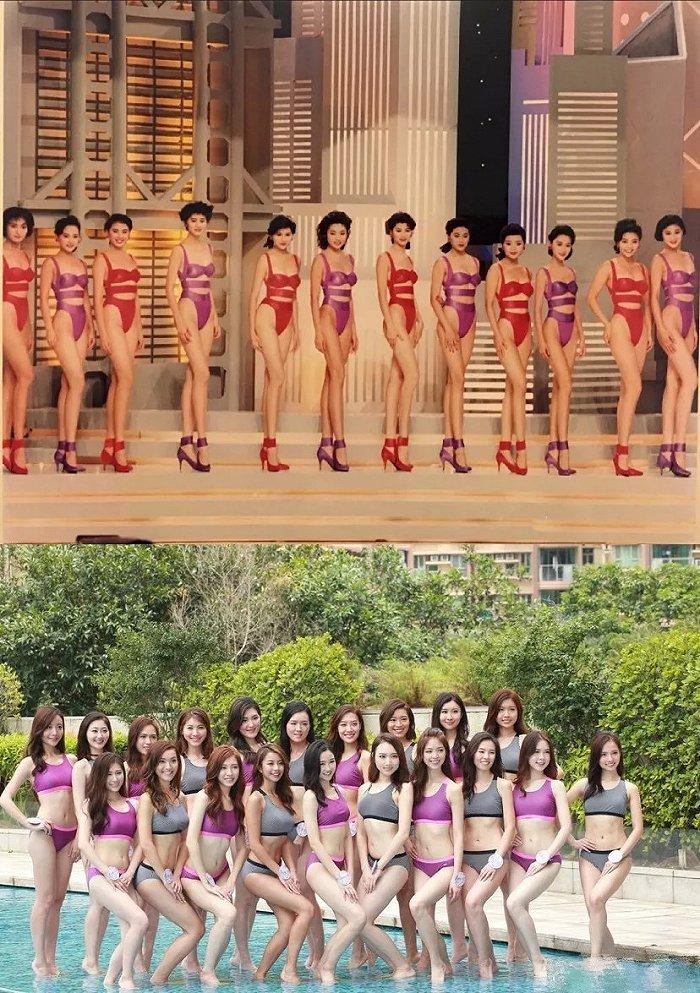 Các cô gái trong vòng thi áo tắm của Miss Hong Kong 1990 và 2018.