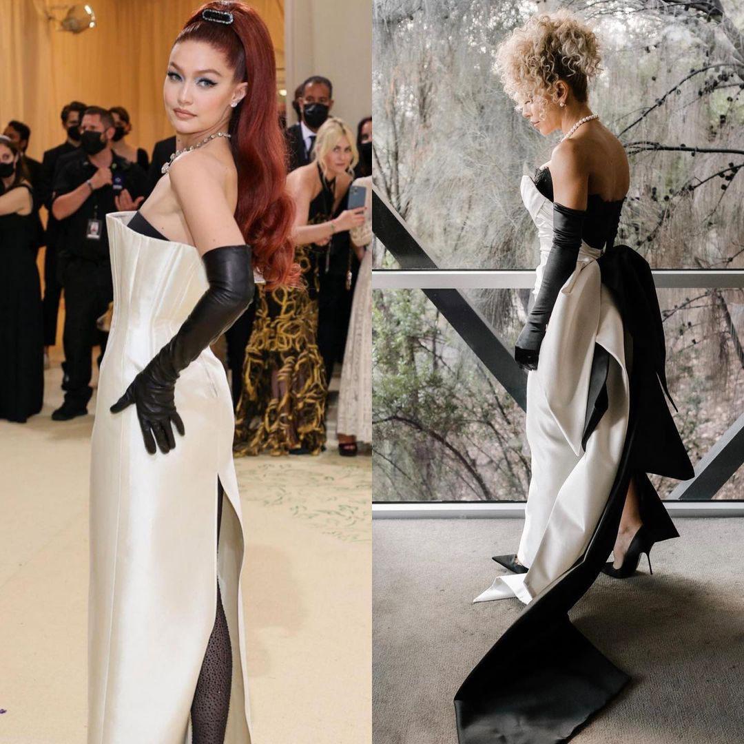 Gigi Hadid trên thảm đỏ Met Gala hôm 13/9 (trái) và NTK Lillian Khallouf trong ngày cưới.