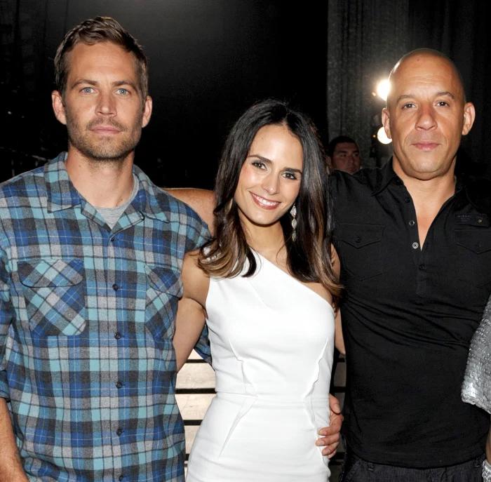 Jordana bên Paul Walker (trái) và Vin Diesel năm 2013. Ảnh: AP