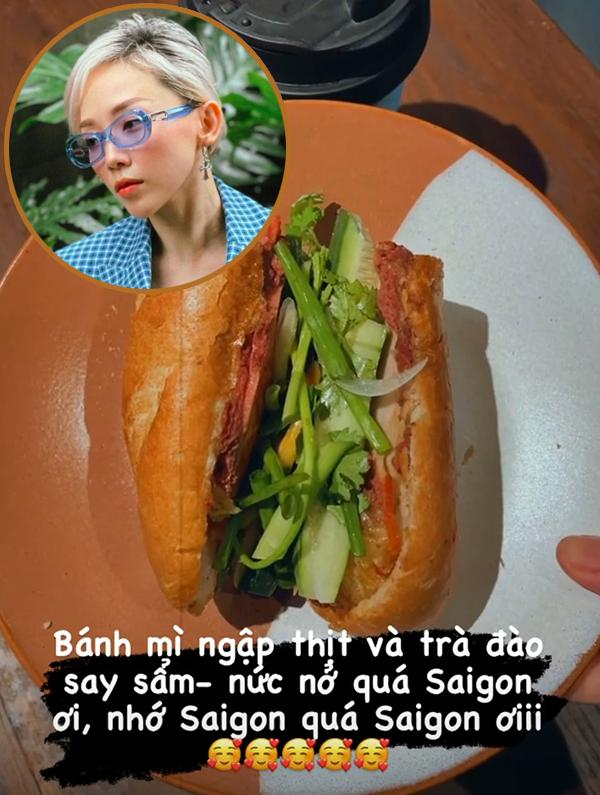 Tóc Tiên khoe bánh mì ngập thịt và trà đào.