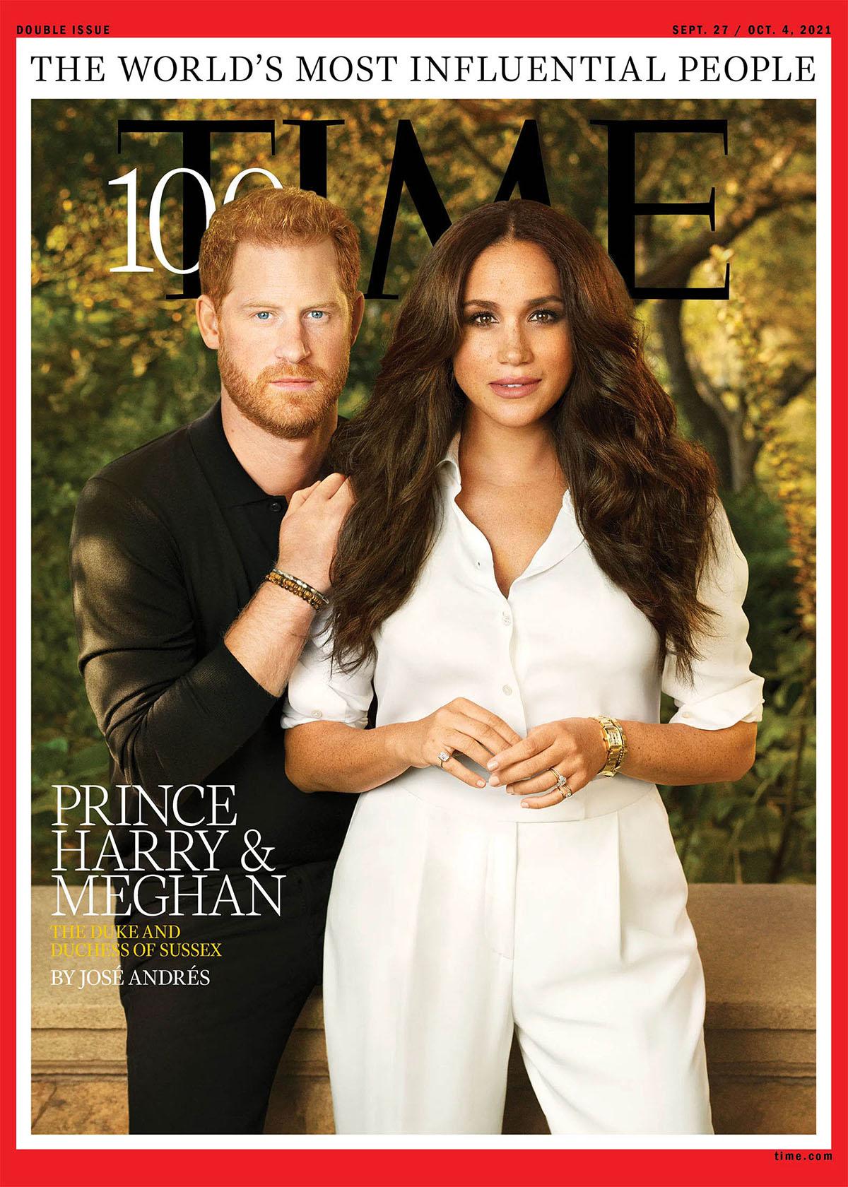 Vợ chồng Harry - Meghan trên bìa tạp chí Time.