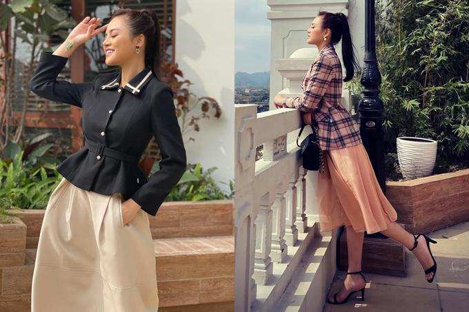 Trong môi trường công sở, Thy yêu thích những thiết kế vest cách tân chít eo, kết hợp cùng chân váy xòe bồng nhẹ nhàng mang đậm cảm hứng Dior, trông vừa thanh lịch, vừa nữ tính.