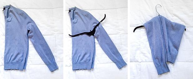 Cách treo áo co giãnĐể trang phục không bị dão và mất form, bạn gập đôi áo, đặt móc vào vị trí nách rồi vắt lên như hình.